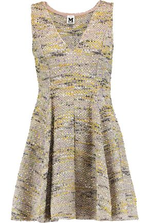 M MISSONI Pleated metallic bouclé-tweed mini dress