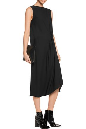 MAISON MARGIELA Pleat-paneled crepe de chine midi dress