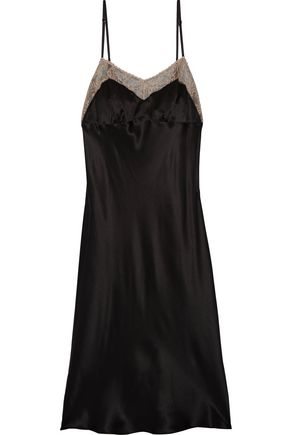 MAISON MARGIELA Lace-trimmed silk-charmeuse dress