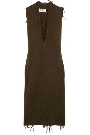MAISON MARGIELA Frayed brushed alpaca-blend midi dress