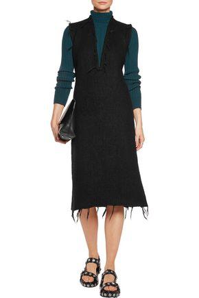 MAISON MARGIELA Frayed brushed alpaca-blend midi dress