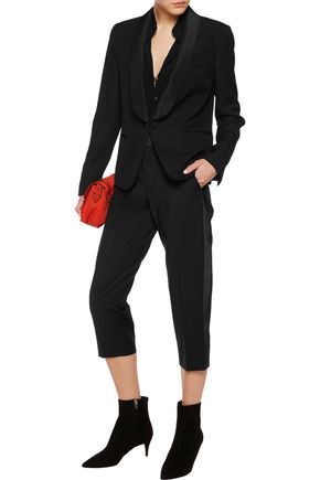 MAISON MARGIELA Silk faille-paneled wool-crepe blazer