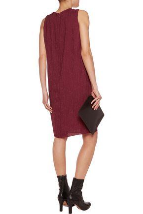 MAISON MARGIELA Ruched marled wool-blend twill dress