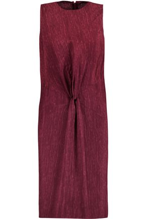 MAISON MARGIELA Ruched marled wool-blend twill dress