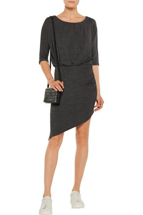 SPLENDID Asymmetric marled stretch-modal dress