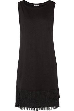 SPLENDID Fringed cotton and modal-blend mini dress