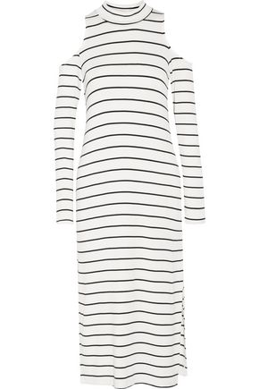SPLENDID Envelope cold-shoulder striped stretch-modal midi dress