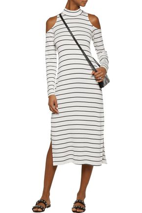 SPLENDID Cold-shoulder striped modal-blend midi dress