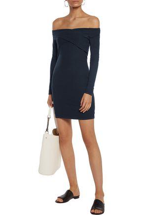 SPLENDID Criss Cross off-the-shoulder stretch-knit mini dress