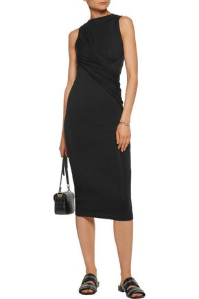 T by ALEXANDER WANG Ruched stretch-modal midi dress