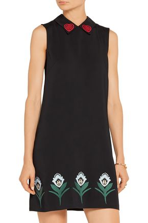 MARKUS LUPFER Nella embroidered stretch-crepe mini dress
