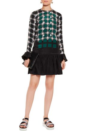 MARKUS LUPFER Bette pleated checked silk crepe de chine mini dress