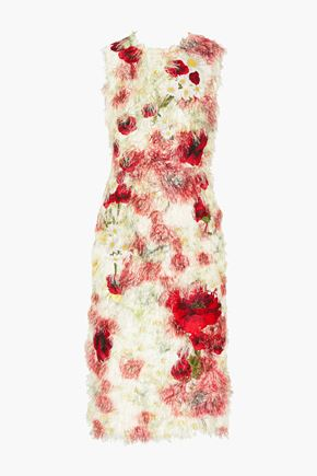 DOLCE & GABBANA Floral-appliquéd fil coupé midi dress