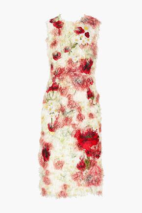 DOLCE & GABBANA Floral-appliquéd fil coupé midi dress