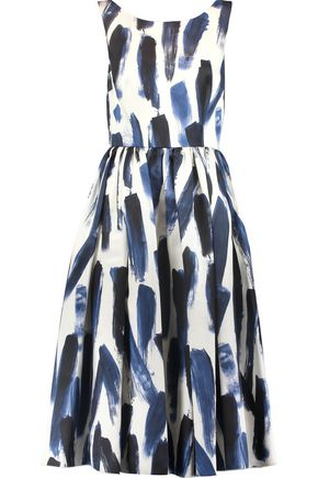 DOLCE & GABBANA Pleated printed silk-satin midi dress