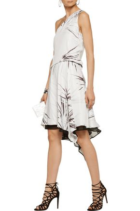 HALSTON HERITAGE One-shoulder draped printed satin-twill dress