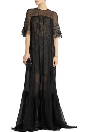 ANTONIO BERARDI Silk-chiffon and lace gown