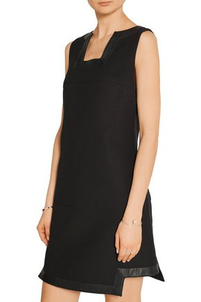 FENDI Leather-trimmed cotton mini dress