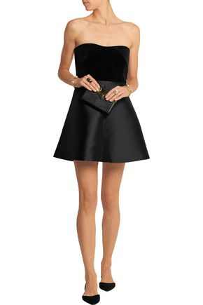 REDValentino Velvet and brushed-satin mini dress