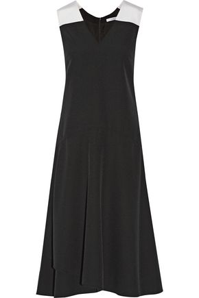 TOME Silk faille-trimmed crepe midi dress