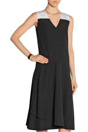 TOME Silk faille-trimmed crepe midi dress