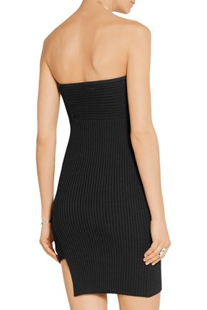 ANTHONY VACCARELLO Asymmetric ribbed stretch-knit mini dress