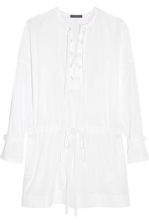ALEXANDER MCQUEEN Piqué-trimmed cotton-poplin mini dress