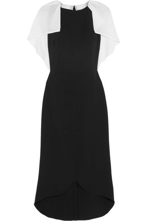 ANTONIO BERARDI Cape-back crepon and stretch-crepe dress