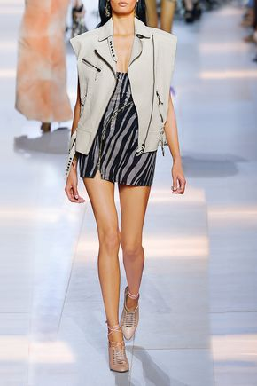 ROBERTO CAVALLI Oversized textured-leather vest