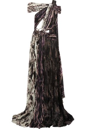 ROBERTO CAVALLI Embellished printed plissé silk gown