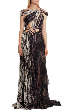 ROBERTO CAVALLI Embellished printed plissé silk gown
