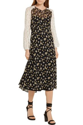 M.I.H JEANS Printed silk-georgette midi dress
