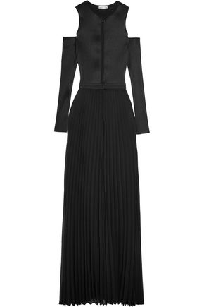 BARBARA CASASOLA Cutout plissé-satin and chiffon gown