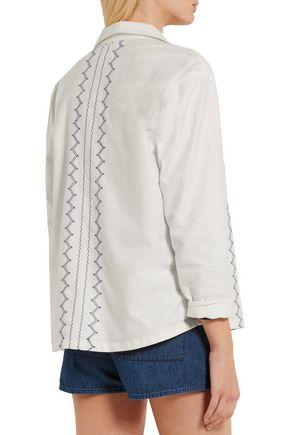 THE GREAT. Oversized embroidered cotton-blend jacket