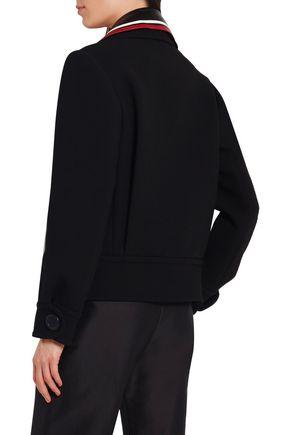 MIU MIU Leather-trimmed wool jacket