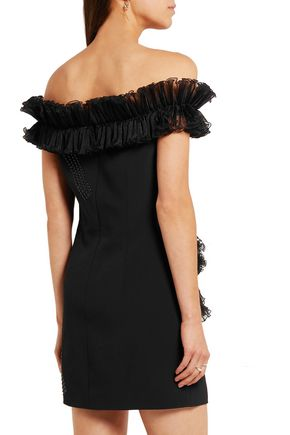 CHRISTOPHER KANE Off-the-shoulder plissé organza-ruffled stretch-crepe mini dress