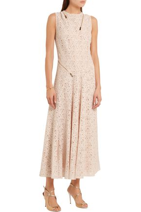 STELLA McCARTNEY Zip-detailed cotton-lace midi dress