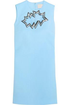 CHRISTOPHER KANE Metallic PVC-trimmed cutout wool-crepe mini dress