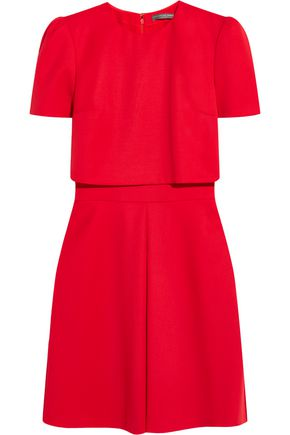 ALEXANDER MCQUEEN Layered wool-crepe mini dress