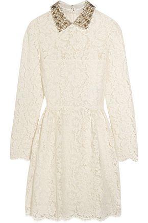 VALENTINO Star-collar stretch-lace mini dress