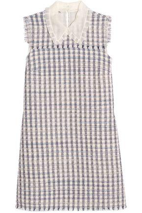 MIU MIU Silk organza-trimmed wool-blend tweed mini dress