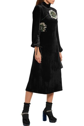 MIU MIU Printed velvet midi dress