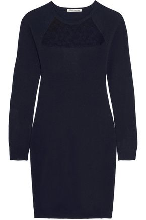 AUTUMN CASHMERE Corded lace-paneled cashmere mini dress