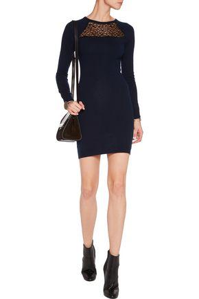 AUTUMN CASHMERE Corded lace-paneled cashmere mini dress