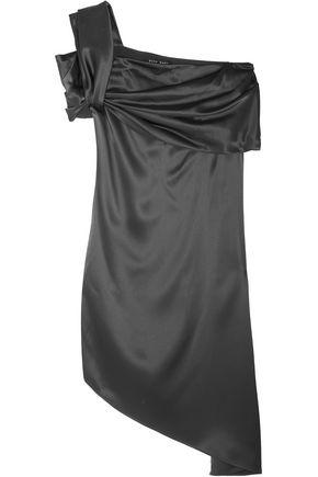 BAJA EAST One-shoulder asymmetric satin dress