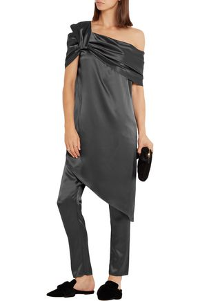 BAJA EAST One-shoulder asymmetric satin dress