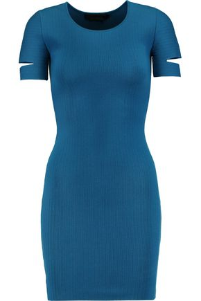 ALEXANDER WANG Cutout ribbed stretch-knit mini dress