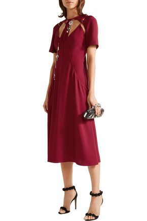 CHRISTOPHER KANE Cutout embellished crepe midi dress
