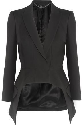 ALEXANDER MCQUEEN Asymmetric wool and silk-blend crepe blazer