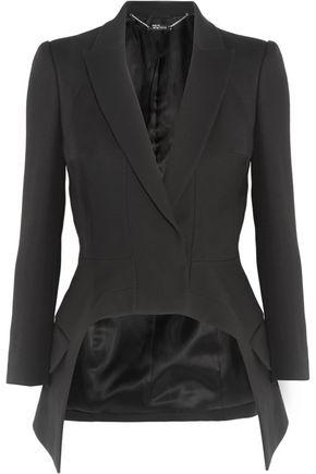 ALEXANDER MCQUEEN Asymmetric wool and silk-blend crepe blazer